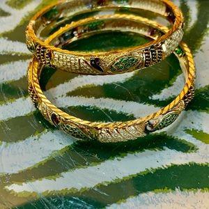 Vintage Jewelry - Moroccan Gold Vermeil Bangle Bracelets 26 Gram